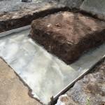 湯河原に本小松石で造るお墓 基礎工事