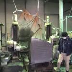 本小松石で造る九寸角の石塔、外柵の製品造り