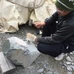 本小松石で造るフクロウの彫刻 〜1日目〜